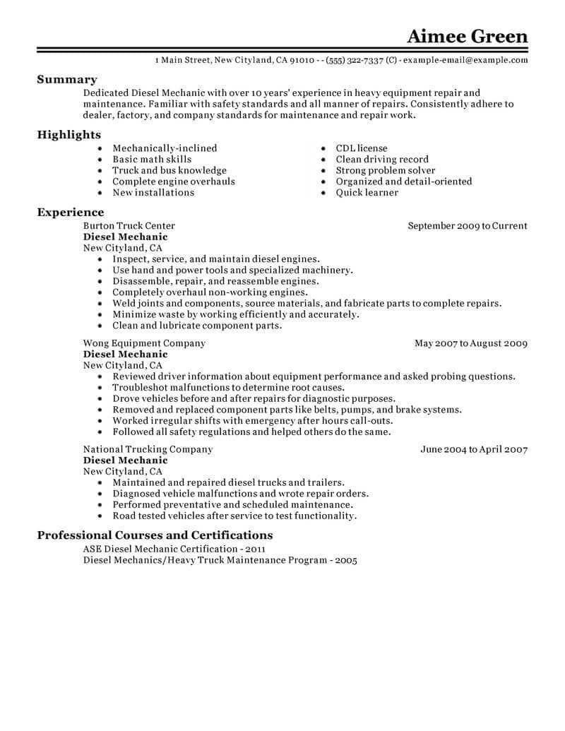 Resume Examples Diesel Mechanic Resumeexamples Resume Examples Resume Skills Job Resume