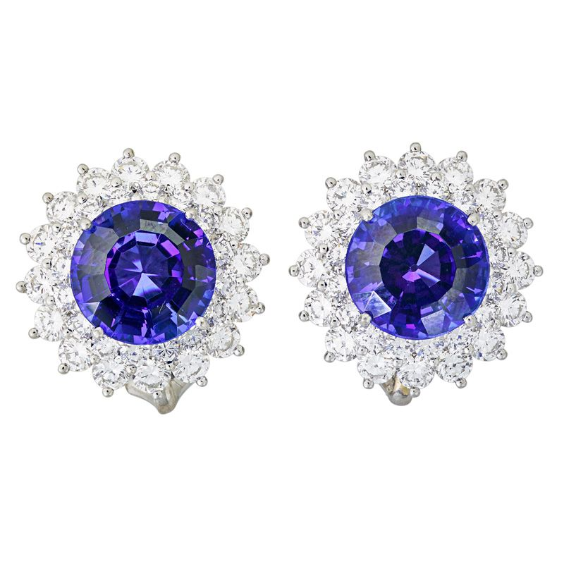 Tiffany Co Tanzanite Diamond Platinum Earrings Estimate 4 500 6 Each Rbc Rox 65 Cts Surrounded By Two Rows Of Diamonds