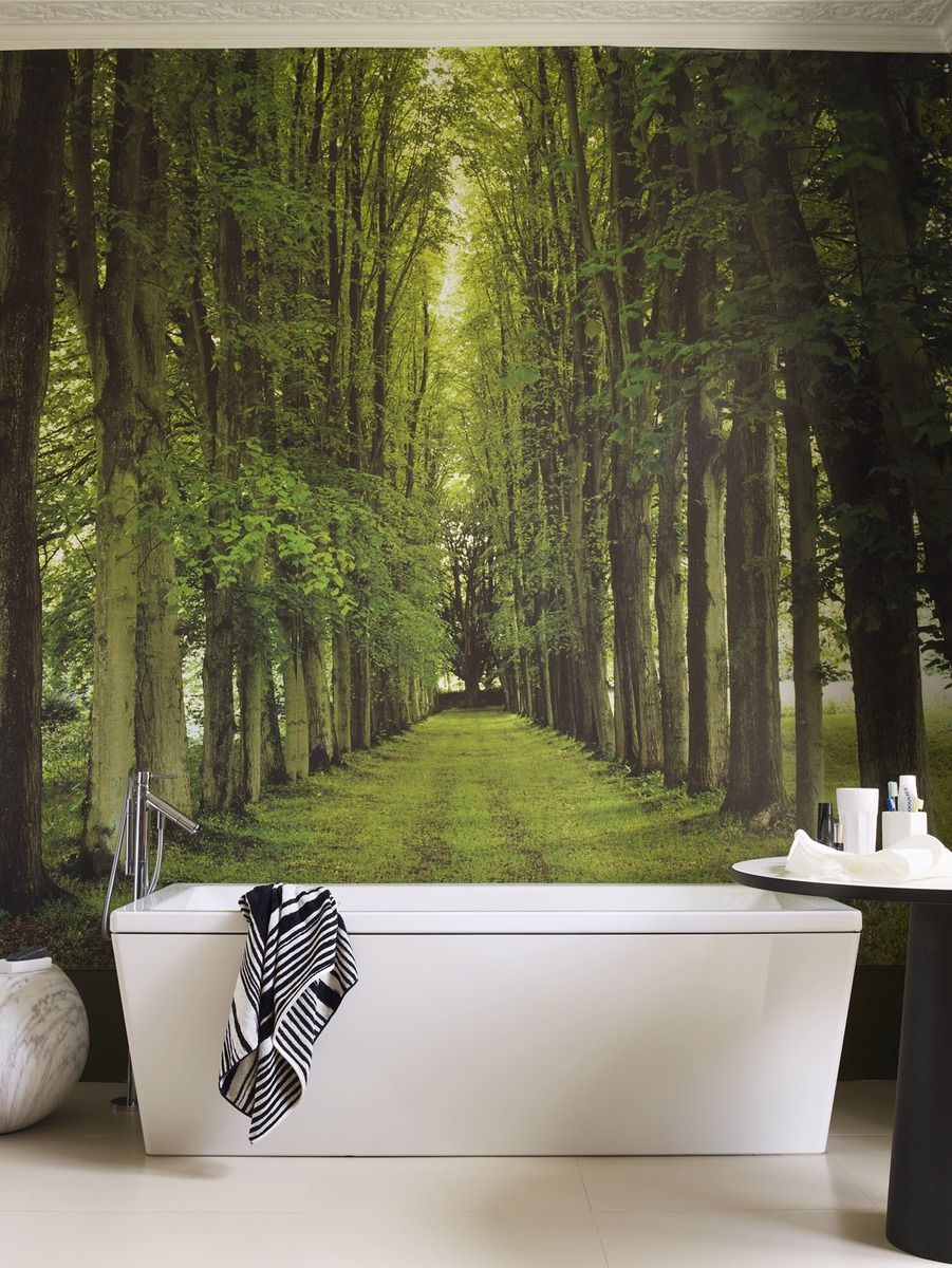 BATHROOMS :: Interesting Way To Do A Feature Wall #bathrooms  #wallpaperandmurals