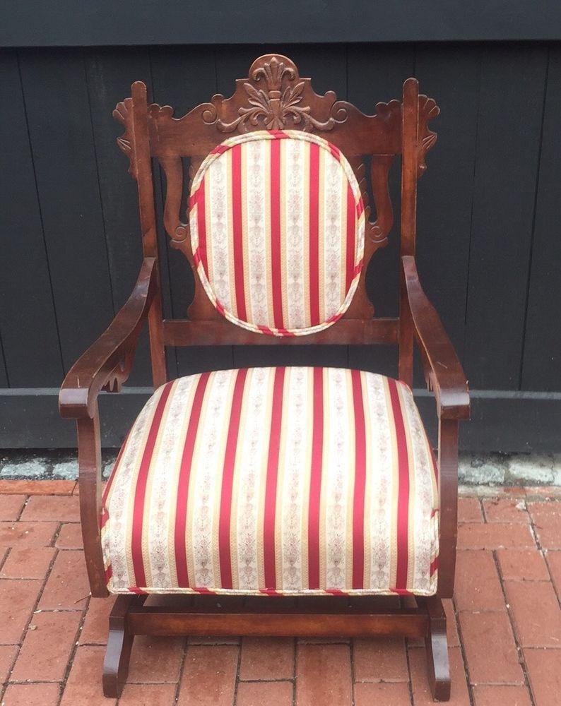 Antique nursery rocking chair - Victorian Platform Rocker Antique Upholstered Rocking Chair