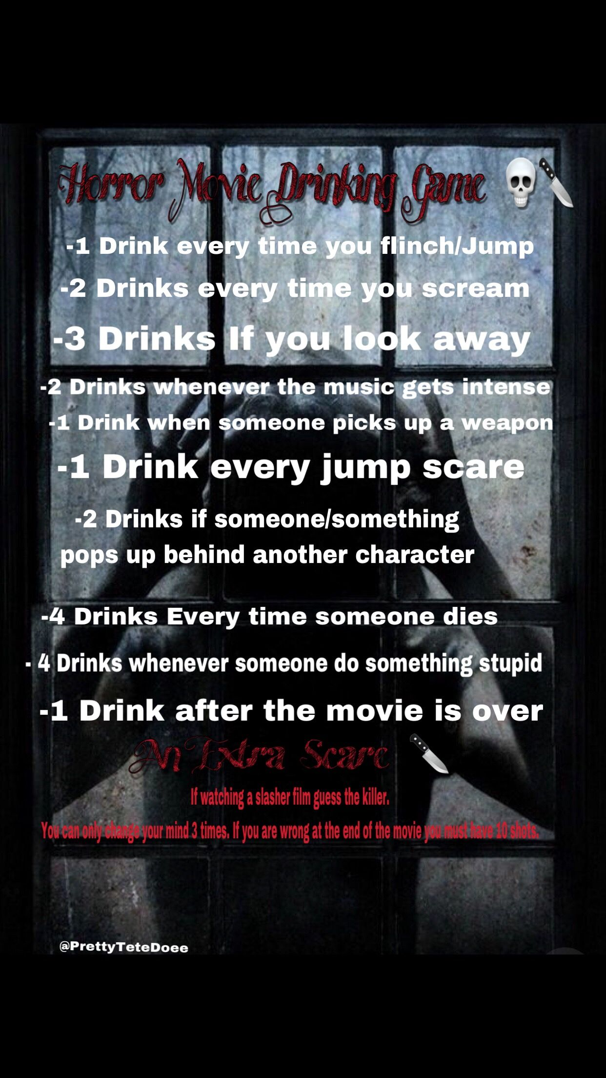 Movie 2 drinking game scary 10 Drinking