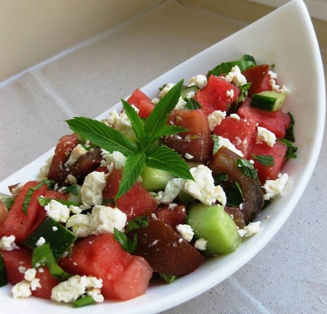 Watermelon, Cucumber, Kumato and Feta Salad  Adapted from lcbo.com   I love the colours in this salad. It just seems to scream summer, doesn...