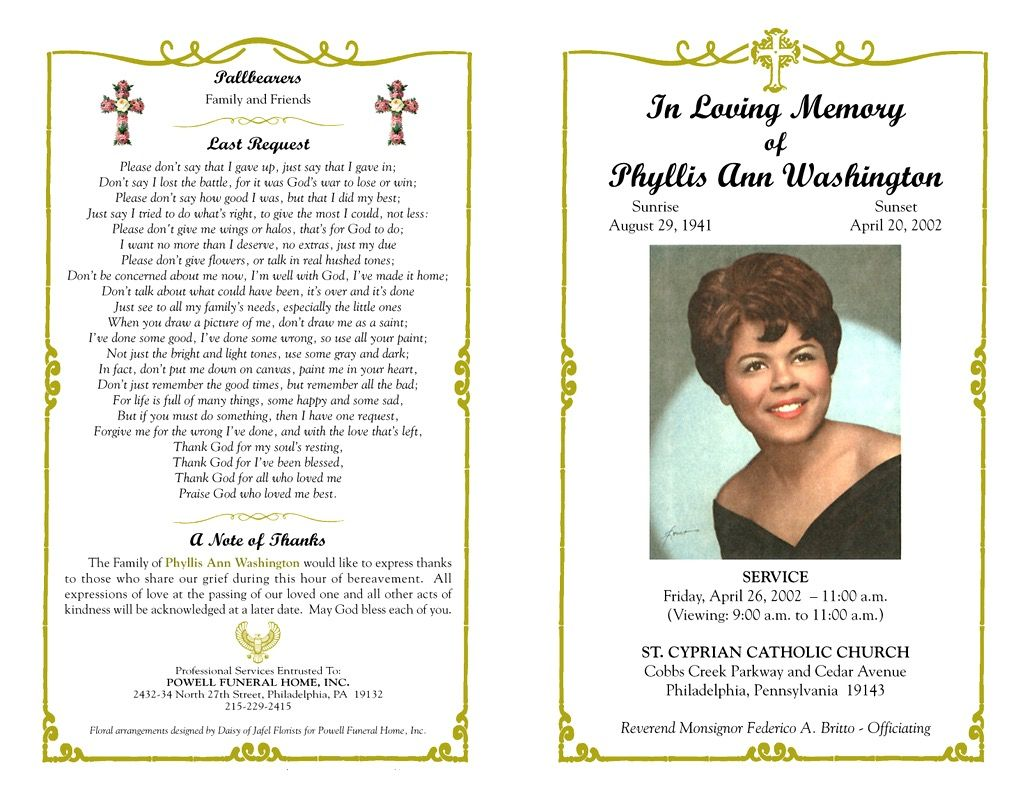 Funeral Program Template Sample Free Loving Memory Templates