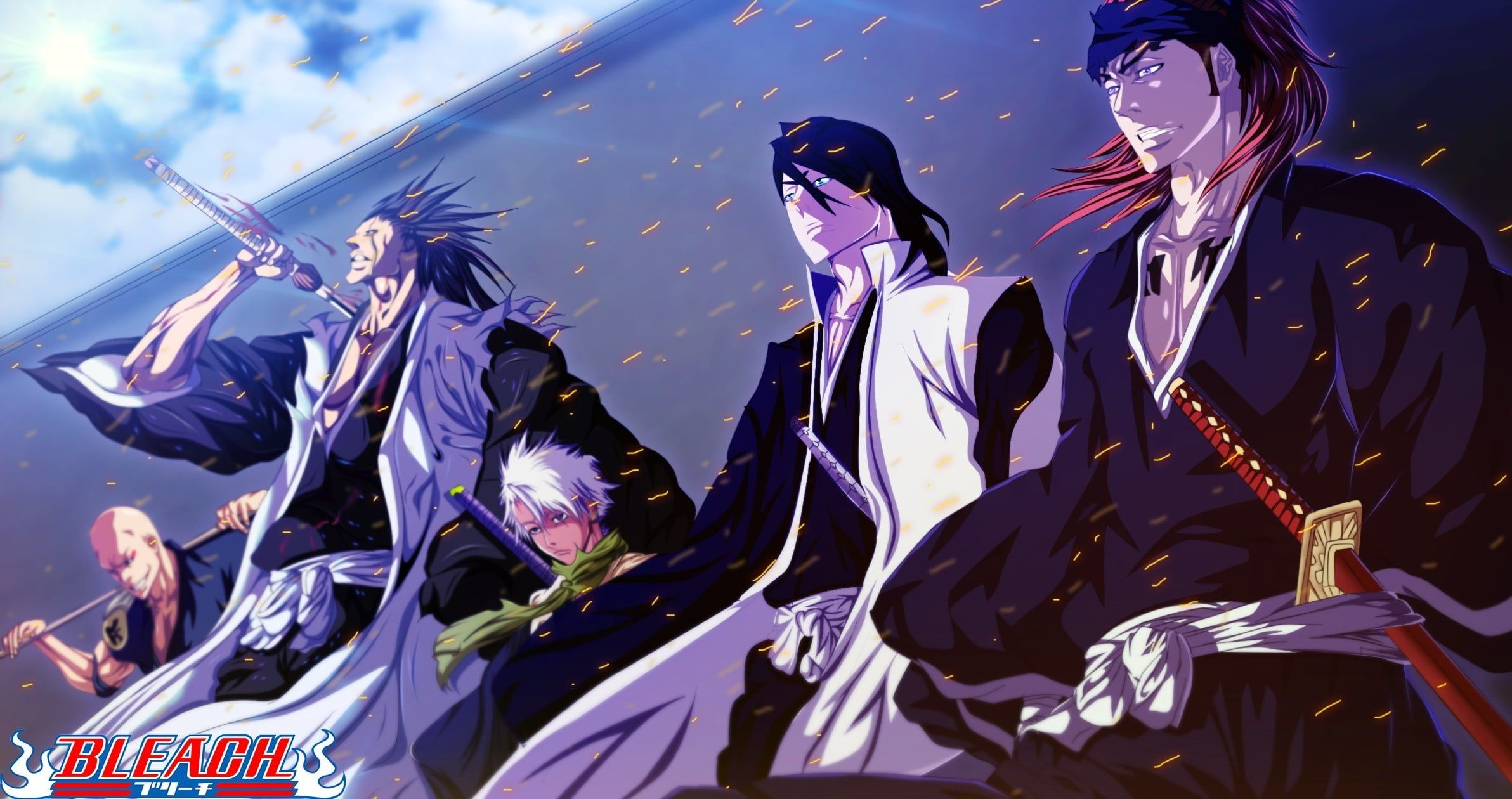 Bleach Characters Digital Wallpaper Bleach Zaraki Kenpachi Kuchiki Byakuya Abarai Renji Ikk In 2020 Character Wallpaper Bleach Characters Anime Backgrounds Wallpapers