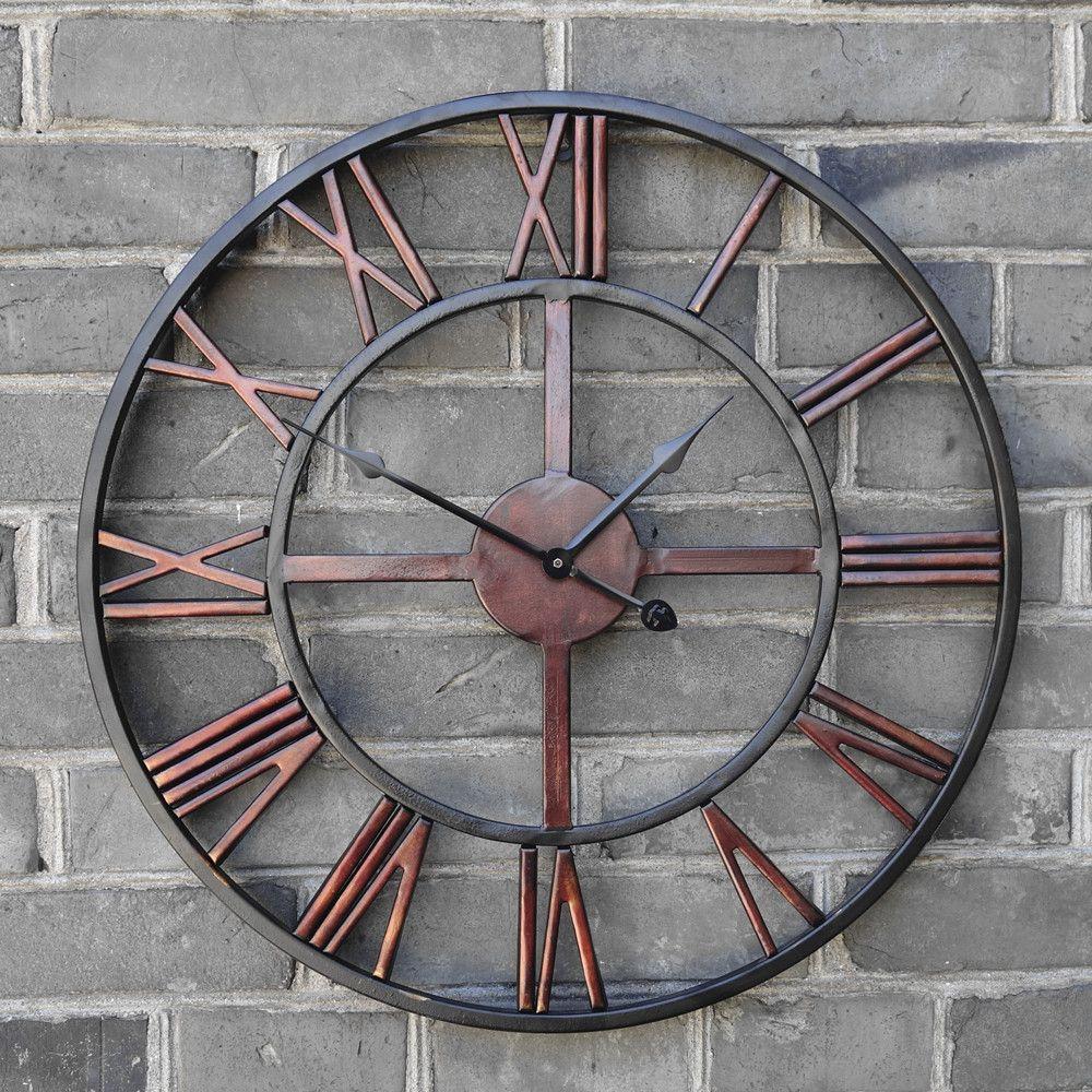 pas cher surdimensionne 3d retro romaine vintage en fer forge grande horloge