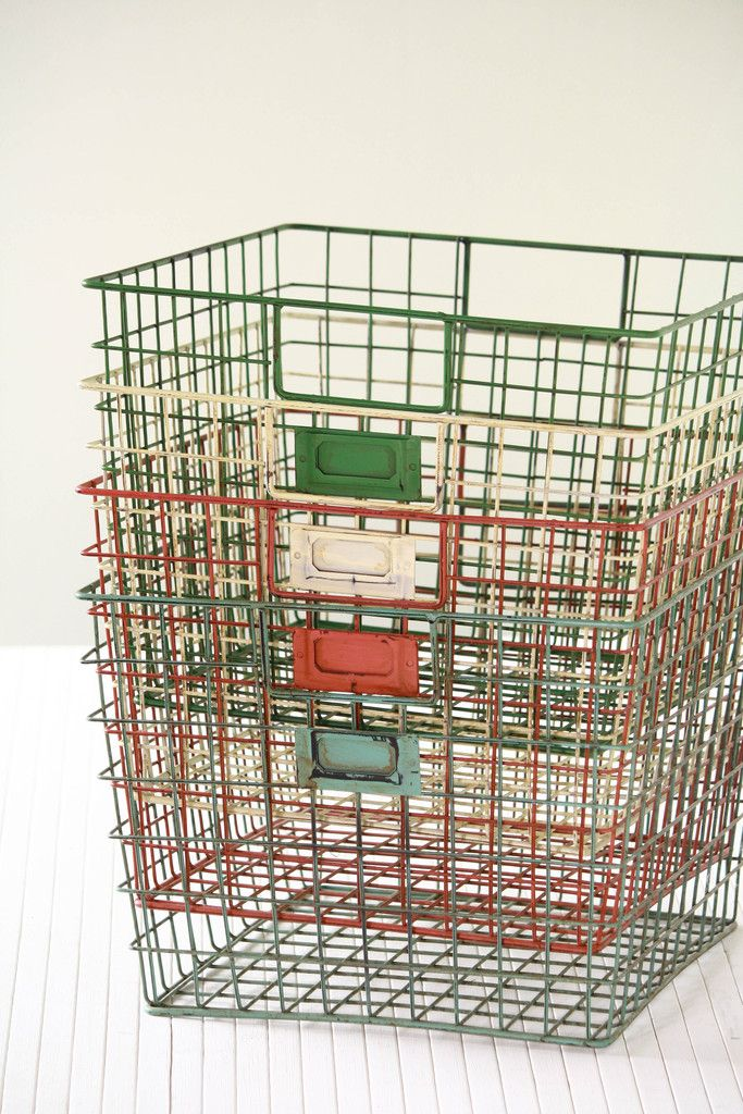 Storage Ideas · Just Discovered Olive Mama Online Textile U0026 Paper Goods  Shop! Love These Weathered Wire Gym. Vintage Wire BasketsMetal ...