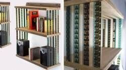 Hanging bookshelf made from recycled 35mm Film - Recyclart
