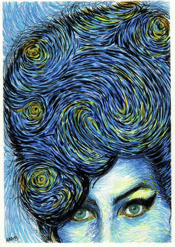 Starry Night Amy Winehouse Art Print By Ritch Benford In 2019