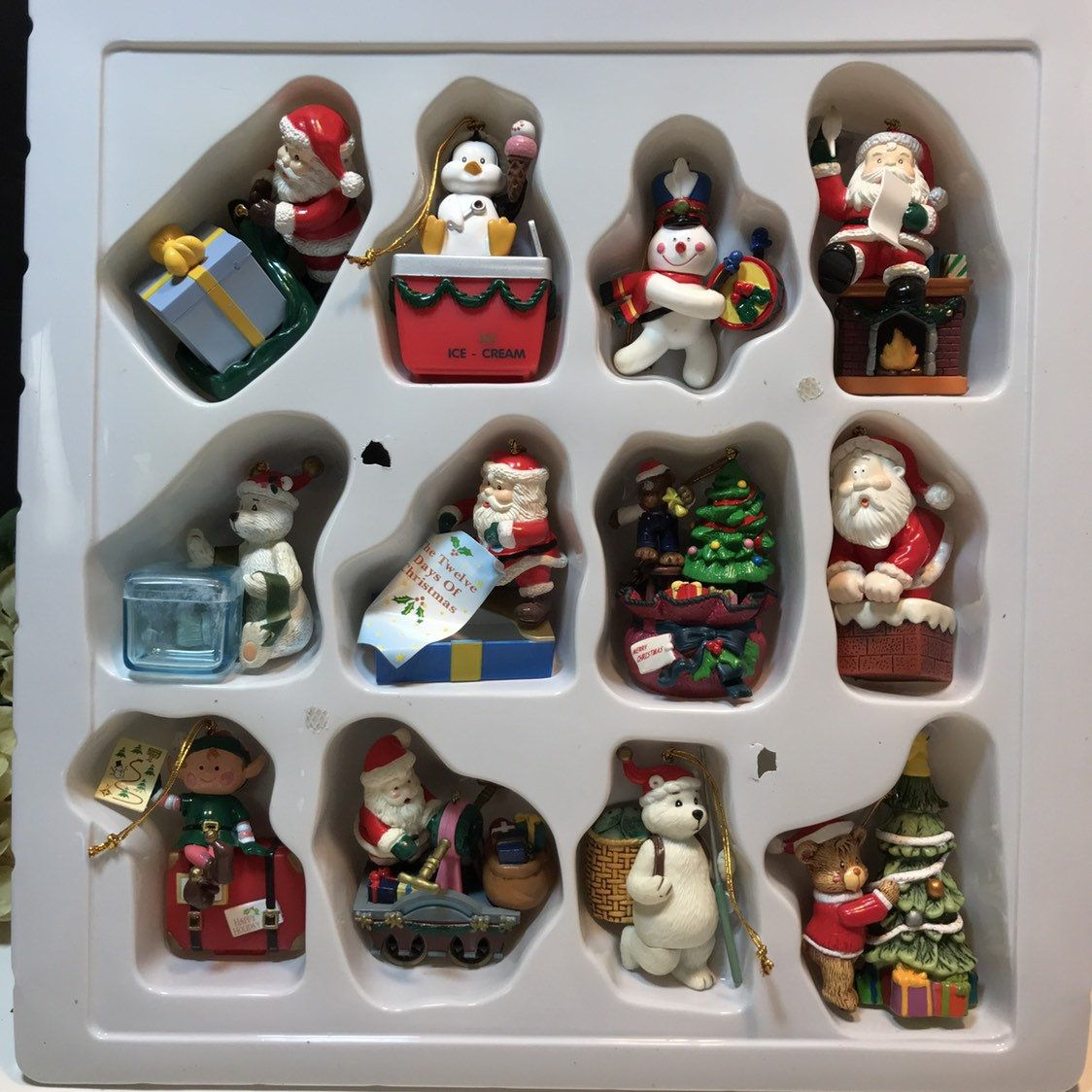 Assortment Of 12 Christmas Ornaments New In Box Trim A Home Ornaments 12 Christmas Christmas Ornaments Vintage Coffee Pot