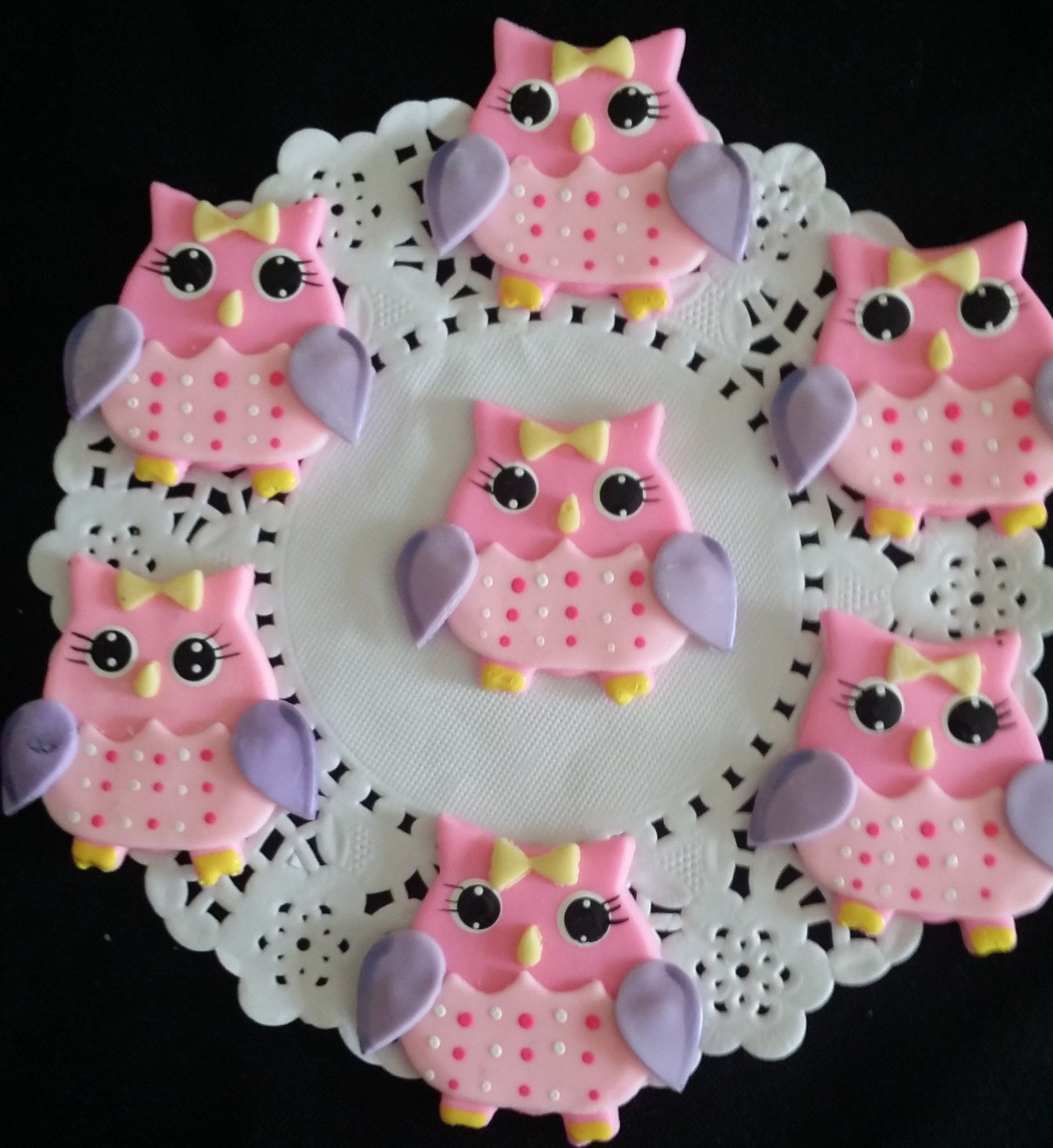 Owls Cupcake Toppers Owls Birthday Party Decoration Pink