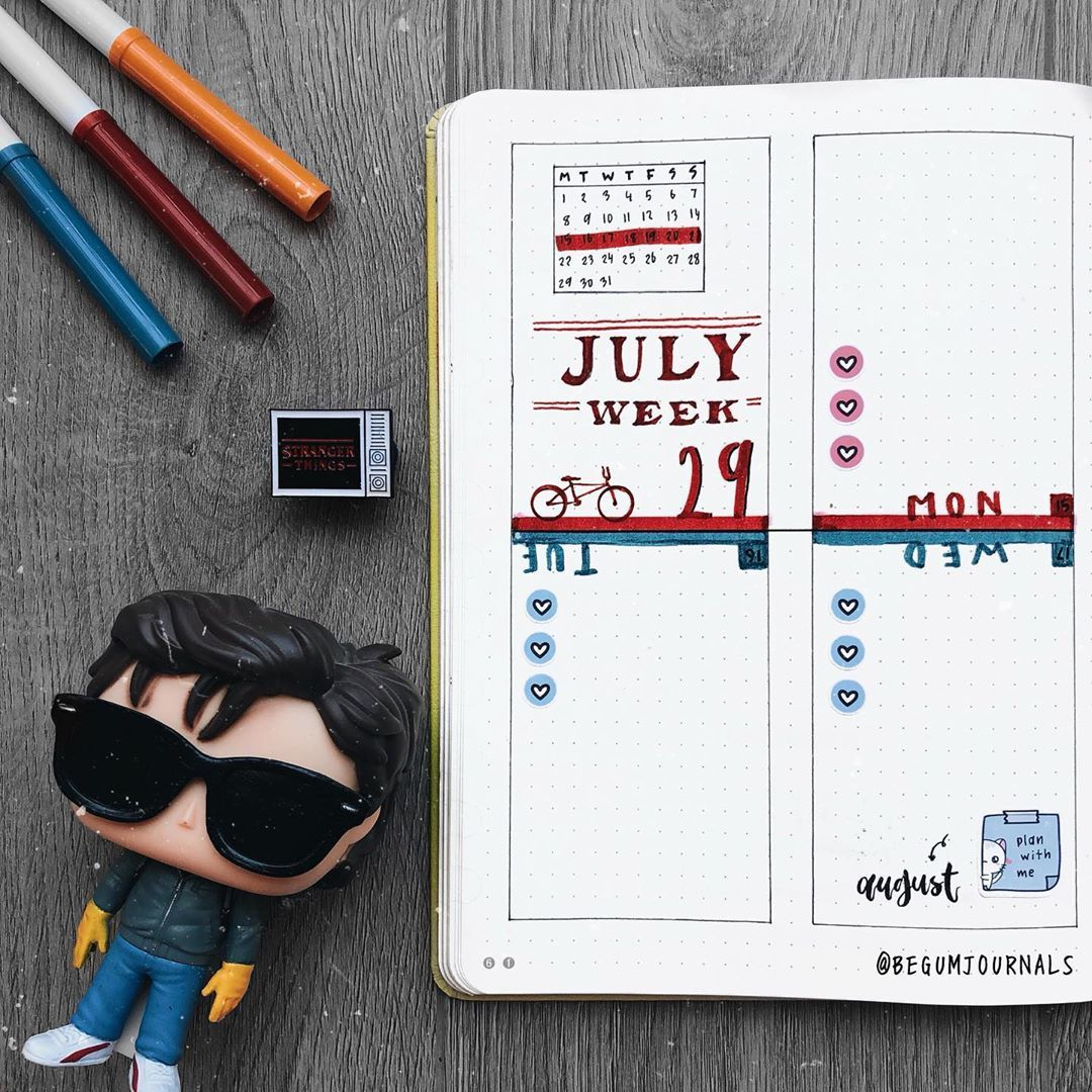"Begüm's Bullet Journal on Instagram: ""July Weekly 🌗 . Use [ BEGUM15 ] @echohuicraftco @_pasteru for %15 off and my freebie ✨ . . . . . #strangerthings #upsidedown #bujo…"""