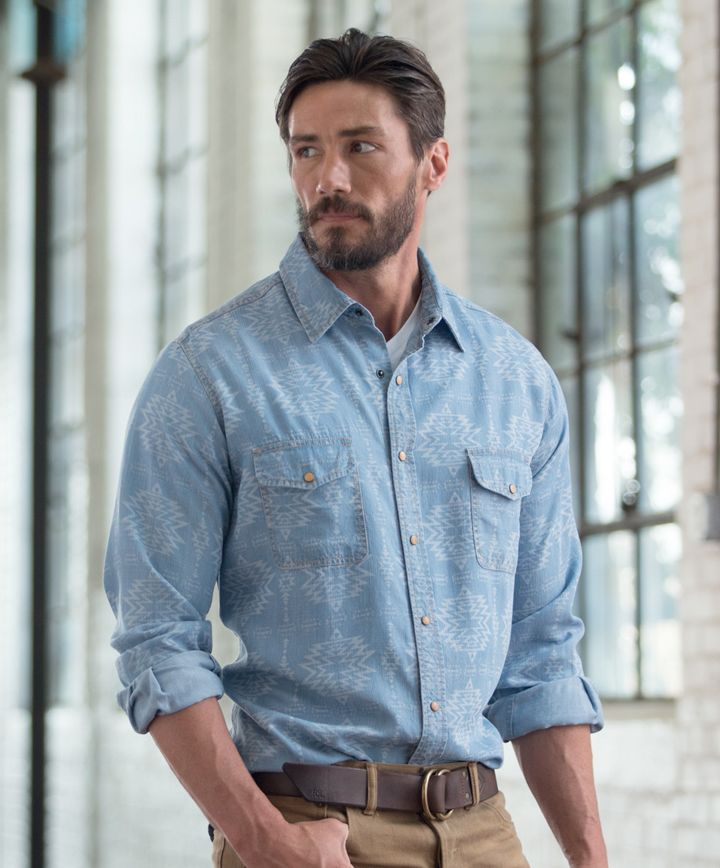 Men's Ryan Michael Aztec Laser Print Shirt at Maverick Western Wear