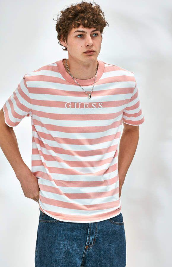 da6d9fce91f1 Guess Palm Striped T-Shirt | T-shirt | Shirts, T shirt, Guess shirt