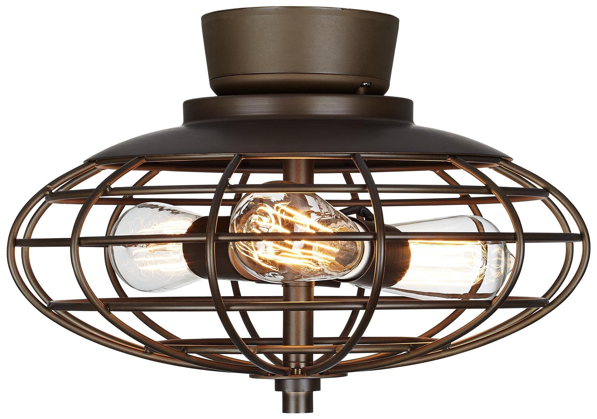 Hampton Bay 3 Light Bronze Bath Light 25107: Oil Rubbed Bronze Industrial Cage 3-60 Watt Ceiling Fan