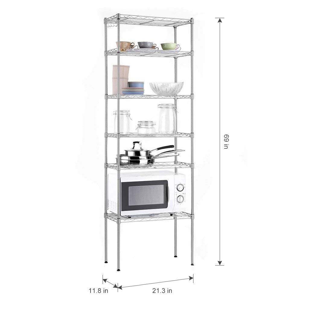 Wire Shelving Hooks | 6 Tier Wire Shelving Unit Organization And Storage Rack With 5 Hooks
