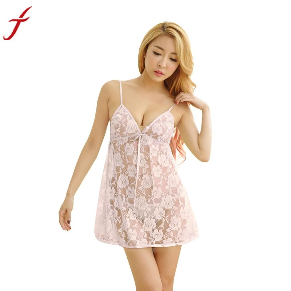 Lace Lingerie Dress With G-string Underwear 2017 Sexy Lady Women  Transparent Intimates Sleepwear Crotchless Nightgown  LS f5e7b5682