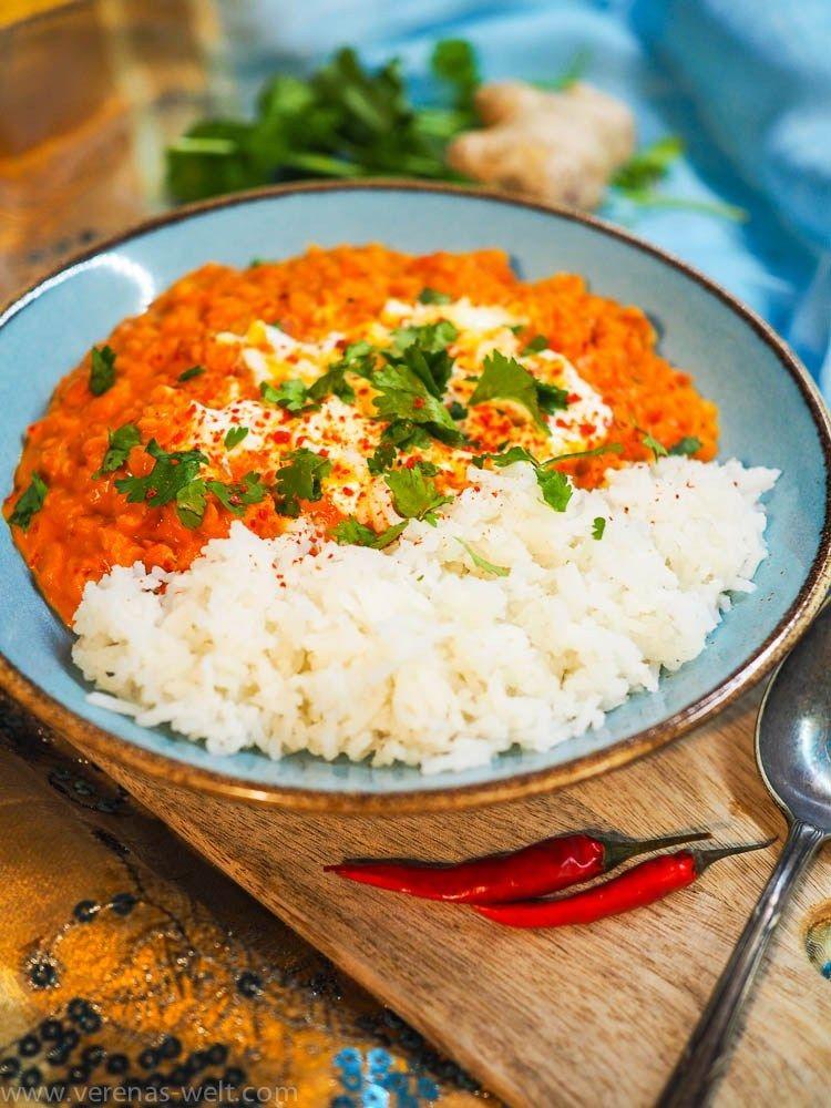Cremiges Dal mit roten Linsen und Kokosmilch #falldinnerrecipes