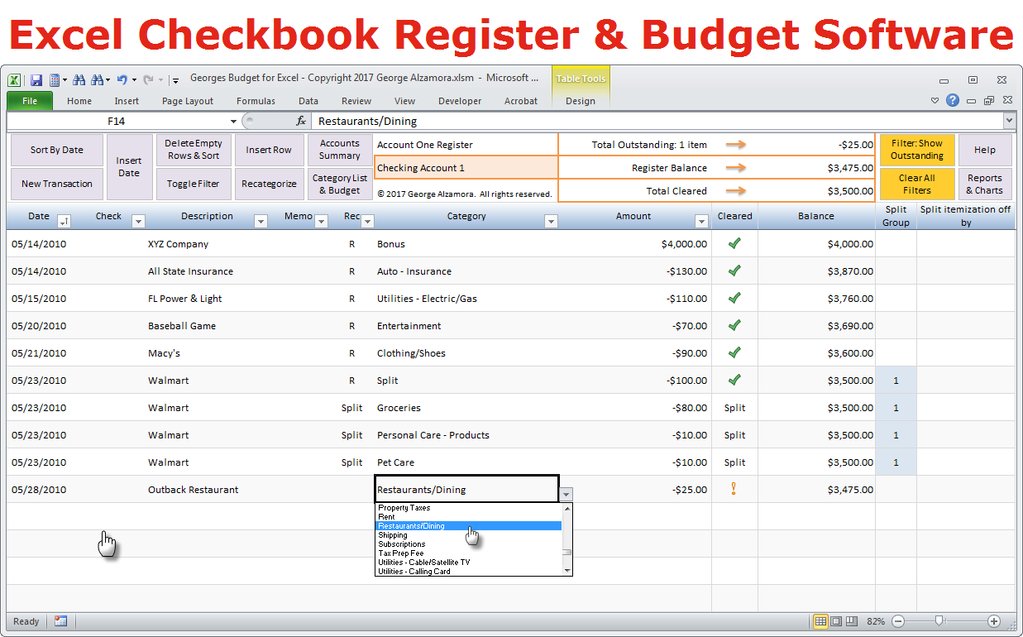 Georges Budget for Excel v10.0 | Pinterest