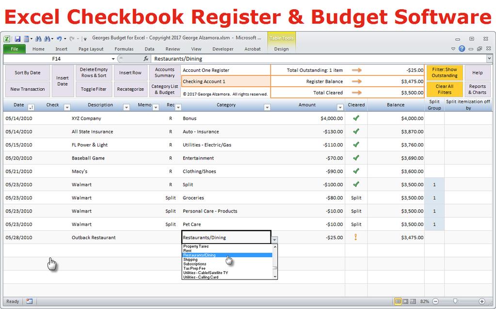 excel checkbook formulas