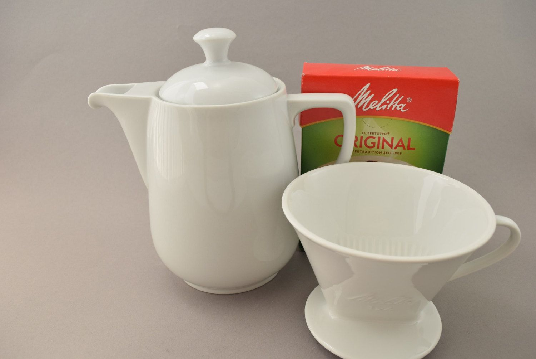 Große Vintage Melitta Kaffee Kanne und Kaffeefilter Handfilter aus Keramik…