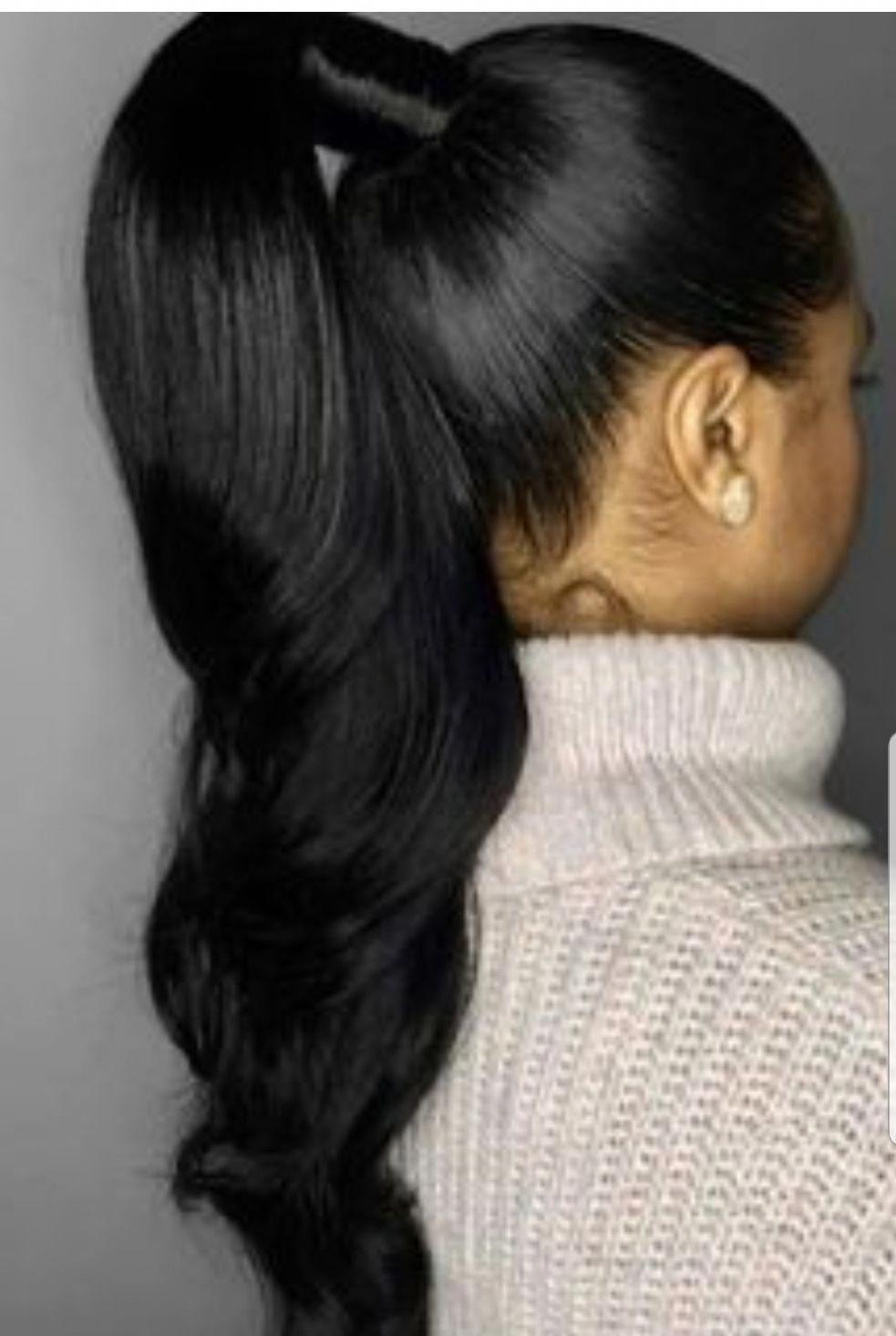 Virgin Hair Ponytails Hair Extension In 2020 Black Ponytail Hairstyles Hair Styles Black Women Hairstyles