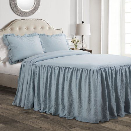 Lush Decor Ruffle Skirt 2-Piece Light Blue Bedspread Set - Walmart.com