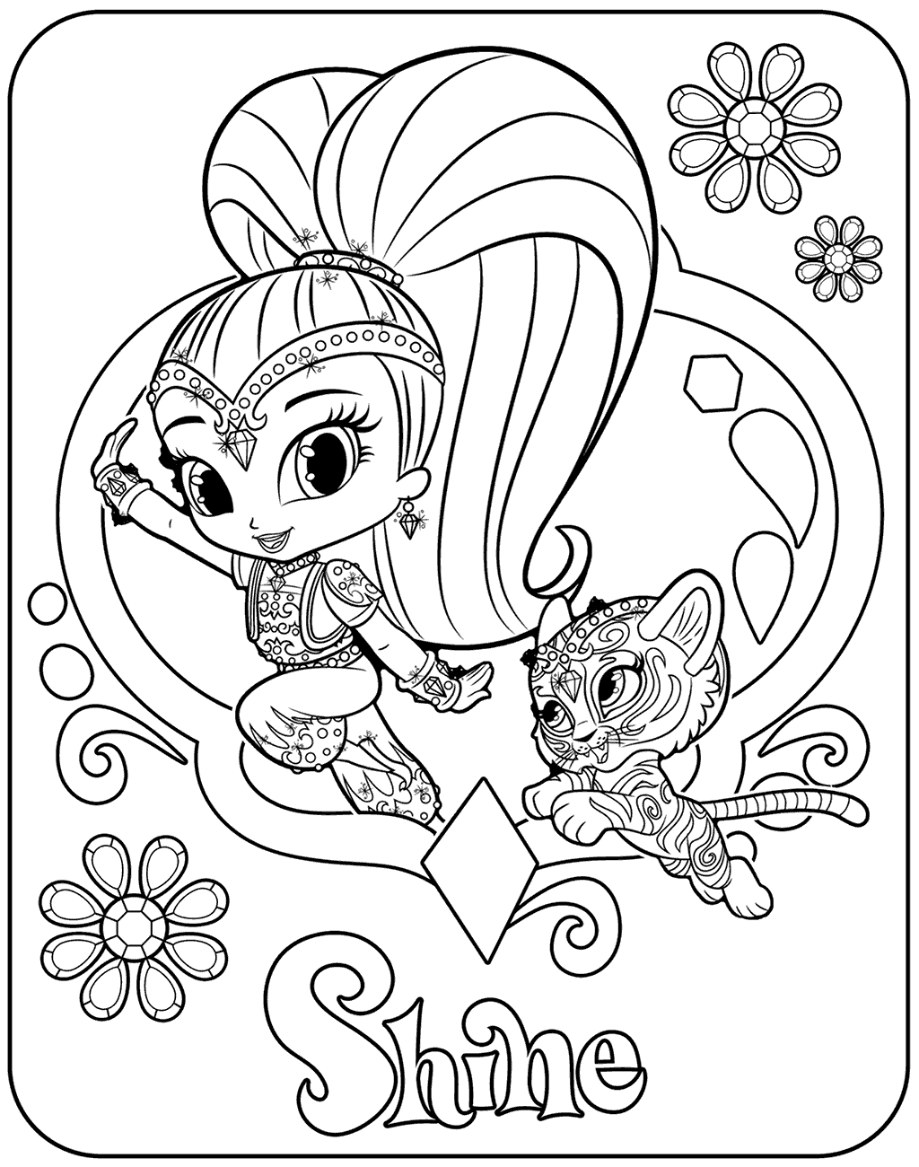 Shine With Nahal Shimmer And Shine Coloring Pages Coloring Pages Coloring Books Free Coloring Pages
