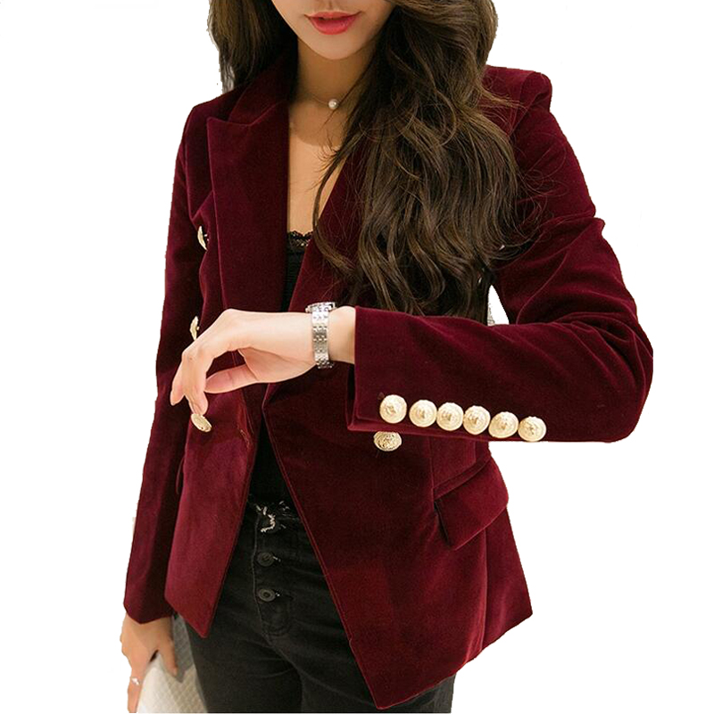e90afa5859 Women's autumn velvet slim long sleeve formal work suit style gold ...