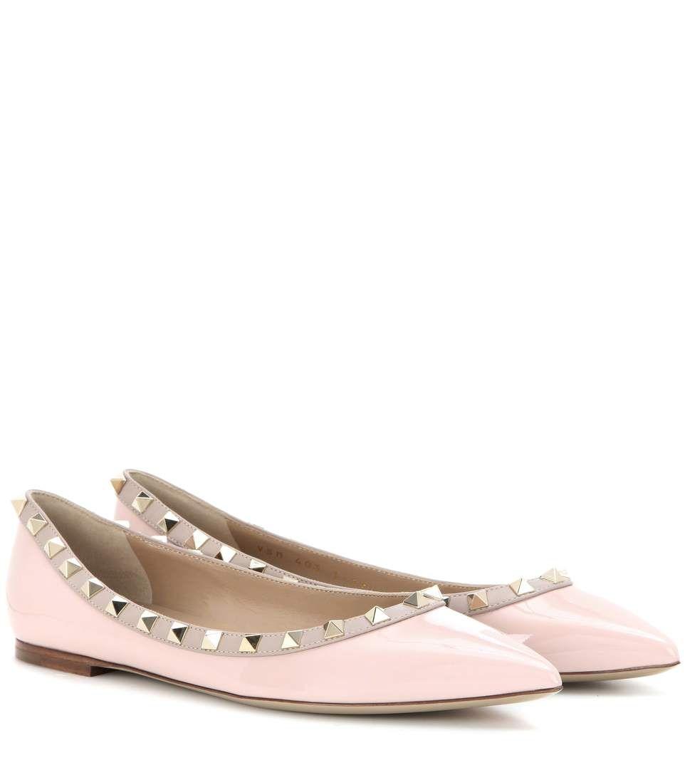 bc82ad554a56 VALENTINO Valentino Garavani Rockstud patent leather ballerinas.  valentino   shoes  flats
