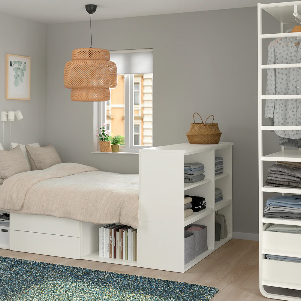Platsa White Fonnes Bed With 2 Drawers Ikea Small Bedroom Inspiration Bedroom Inspiration Ikea Small Bed Frame