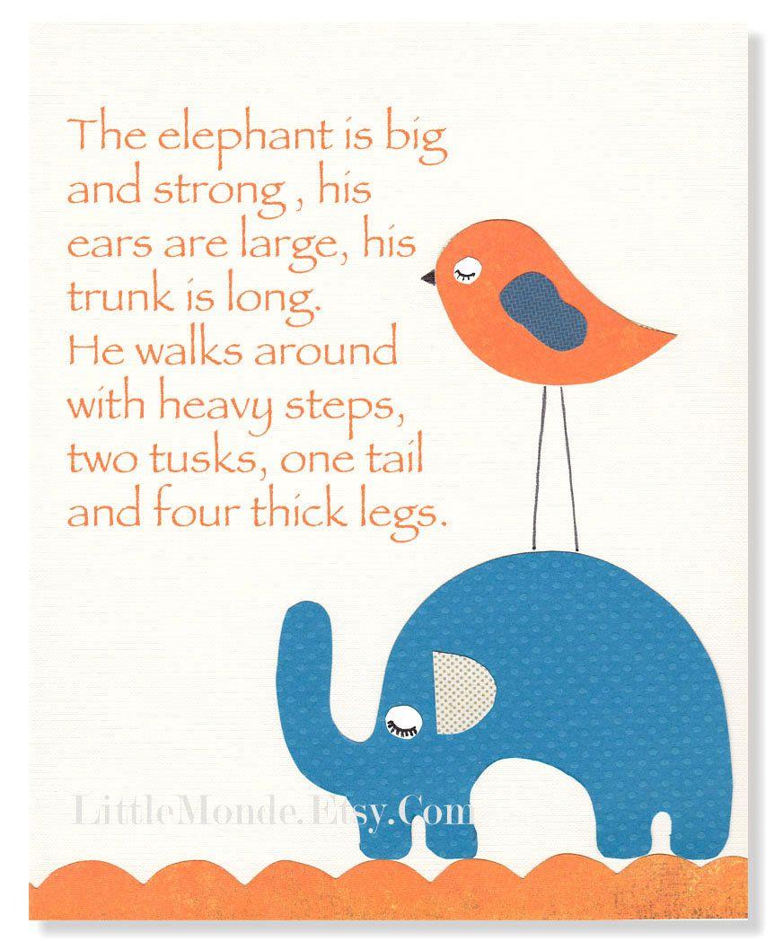 """The Elephant Poem, 8x10"""" Personalized Nursery Print,Baby"""
