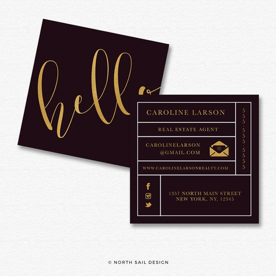premade square business card design print by
