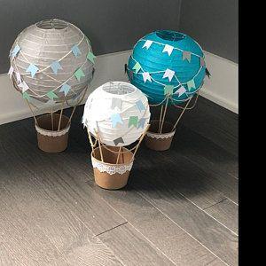 Photo of Hot air balloon decoration DIY kit blue GRAY & white, hot air balloon decorations, travel theme nursery, travel theme decoration – set of 3