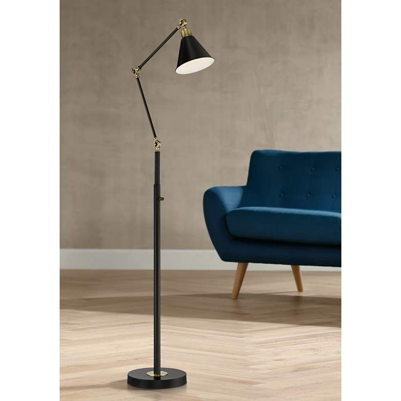 Wray Black And Antique Brass Adjustable Floor Lamp 56f19 Lamps Plus Adjustable Floor Lamp Vintage Floor Lamp Floor Lamp