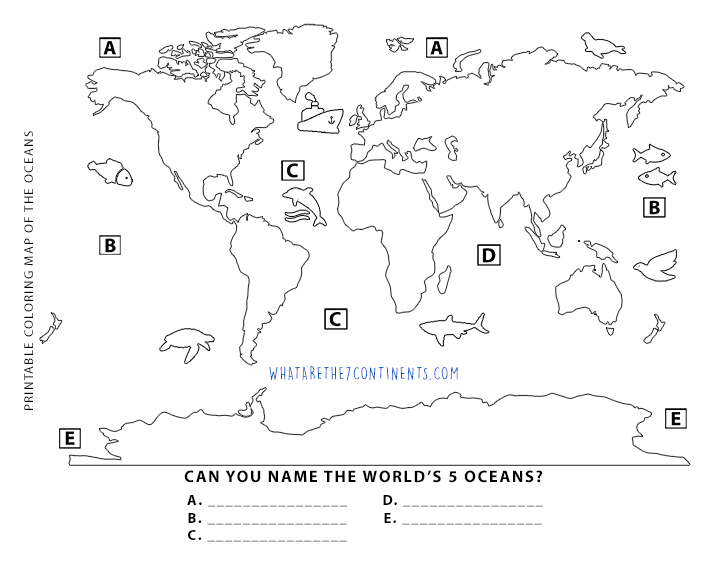 Looking For A Printable Coloring Map Of The Oceans We Have - Blank world map label