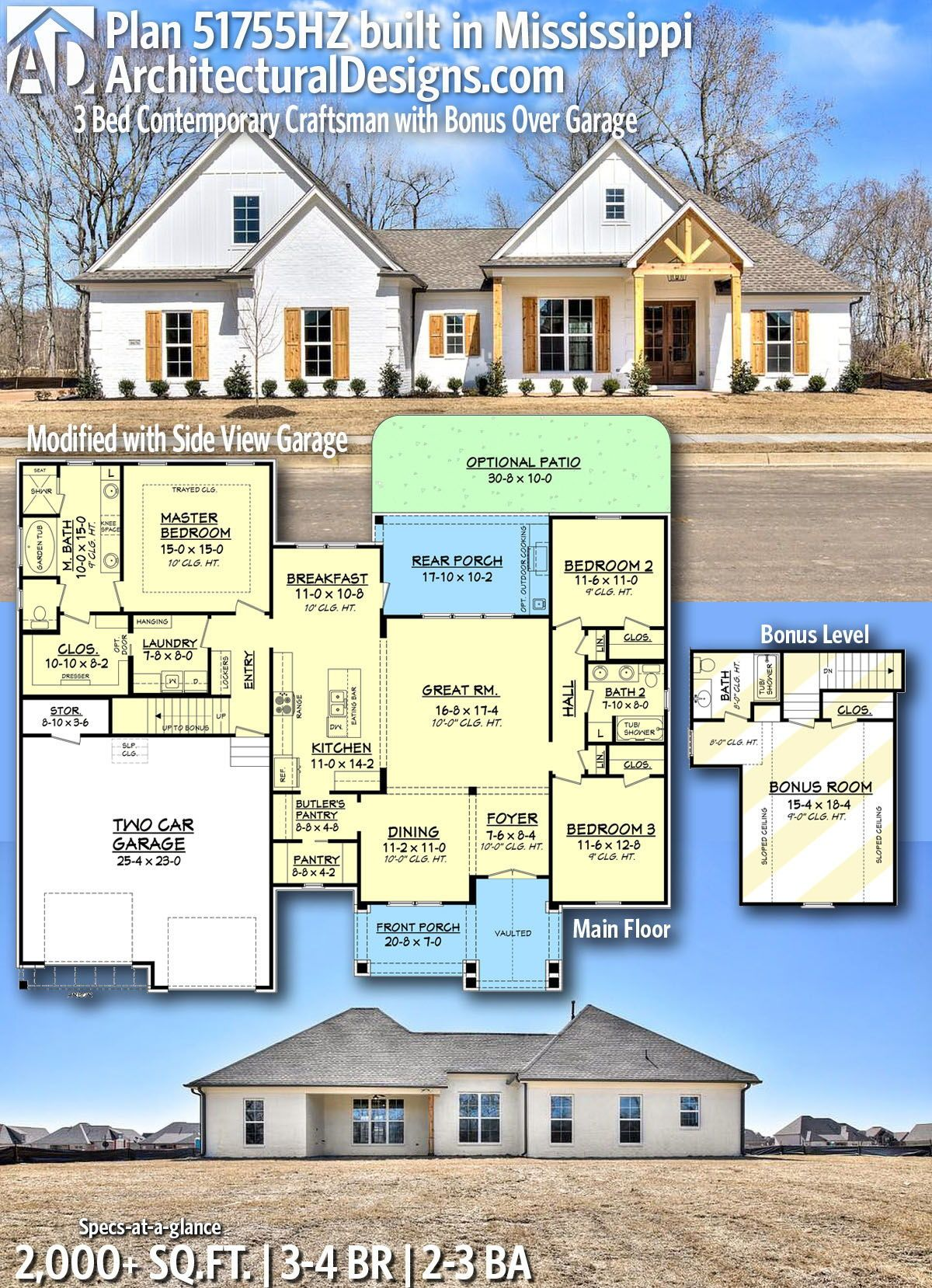 Plan 51755hz 3 Bed Contemporary Craftsman With Bonus Over Garage In 2021 Craftsman House New House Plans Craftsman House Plan
