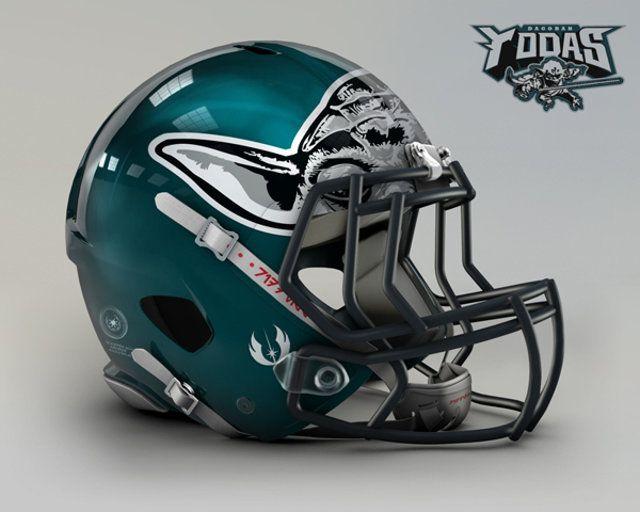 261f25a97bbcb Philadelphia Eagles   Star Wars Themed Football Helmets   NFL Logos ...