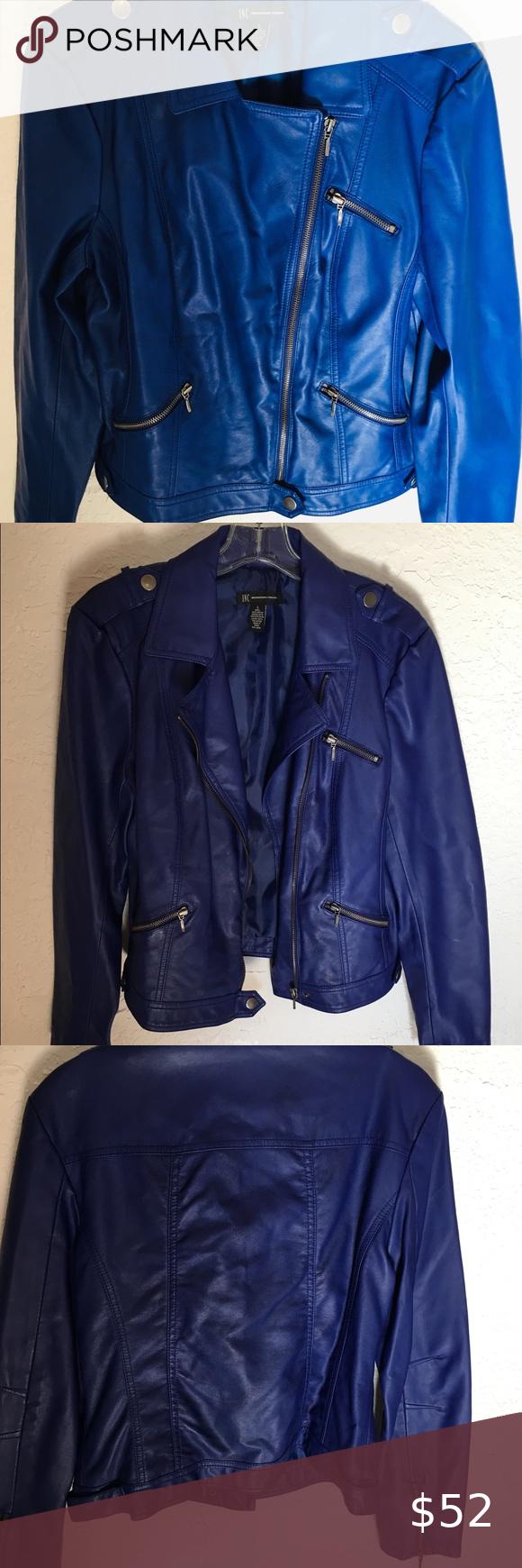 Inc International Royal Blue Faux Leather Jacket L Vegan Leather Jacket Leather Jacket Faux Leather Jackets [ 1740 x 580 Pixel ]