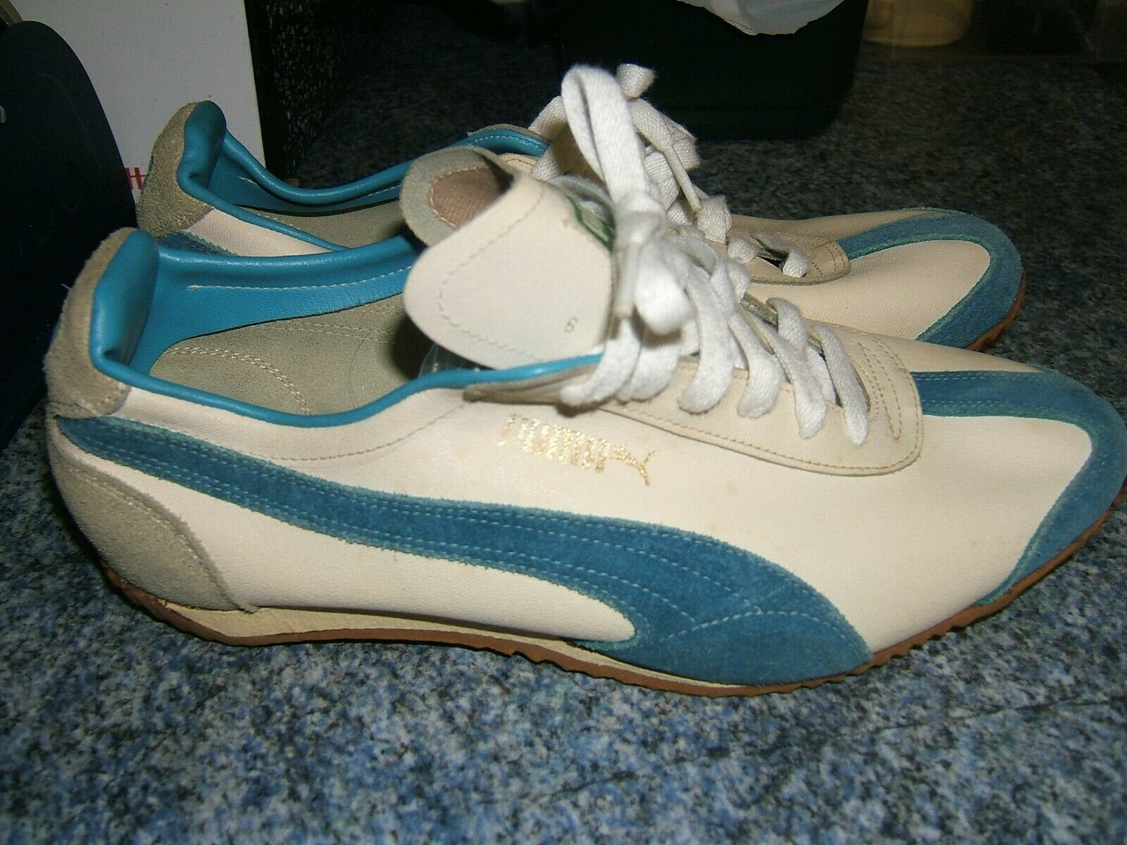 Vintage 1960 70 S Puma White Blue Thin Sole Trainer Uk8 Us8 5 Eu42 265 In 2020 Puma Vintage Sneakers New Vintage