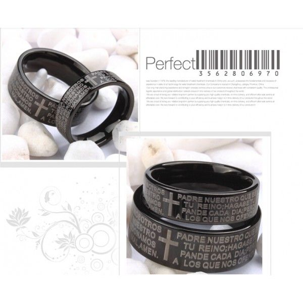 Bible And Cross Tungsten Rings For Lovers Wide Black Lover Rings(Price For a Pair) - USD $69.95
