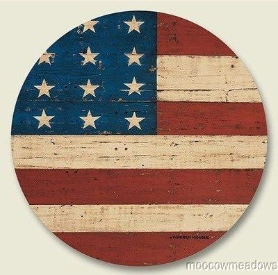 New American Flag Lazy Susan Folk Decor Spinner Made In Usa Wood Vintage Accent Ebay Folk Decor Round Wood Sign Old American Flag