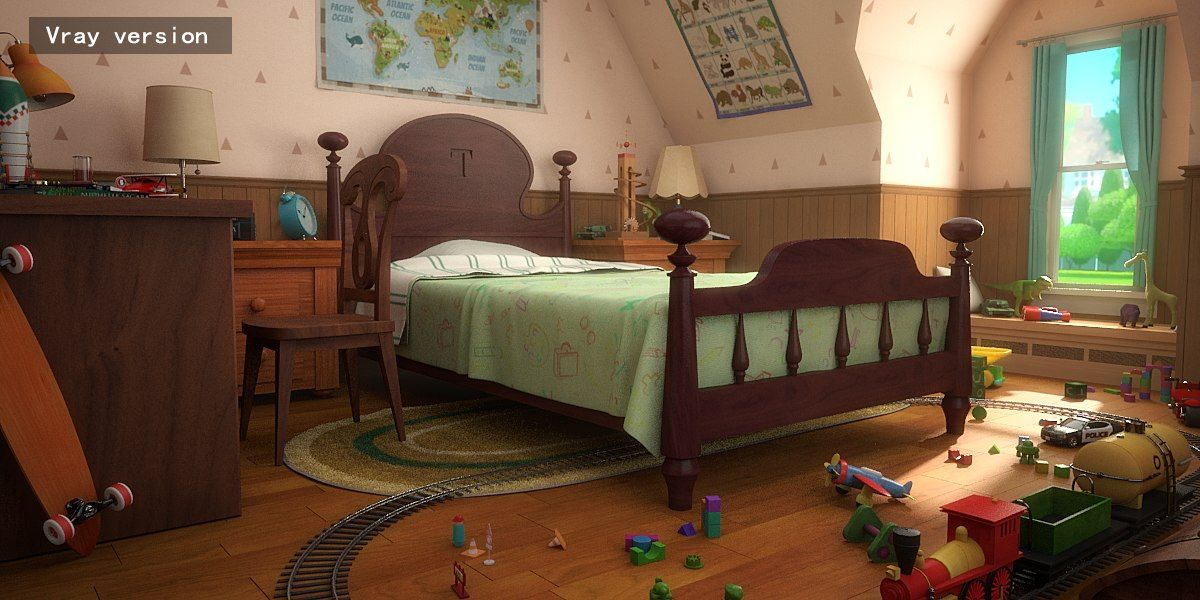 3D cartoon room corridor (With images) Room, Boy room