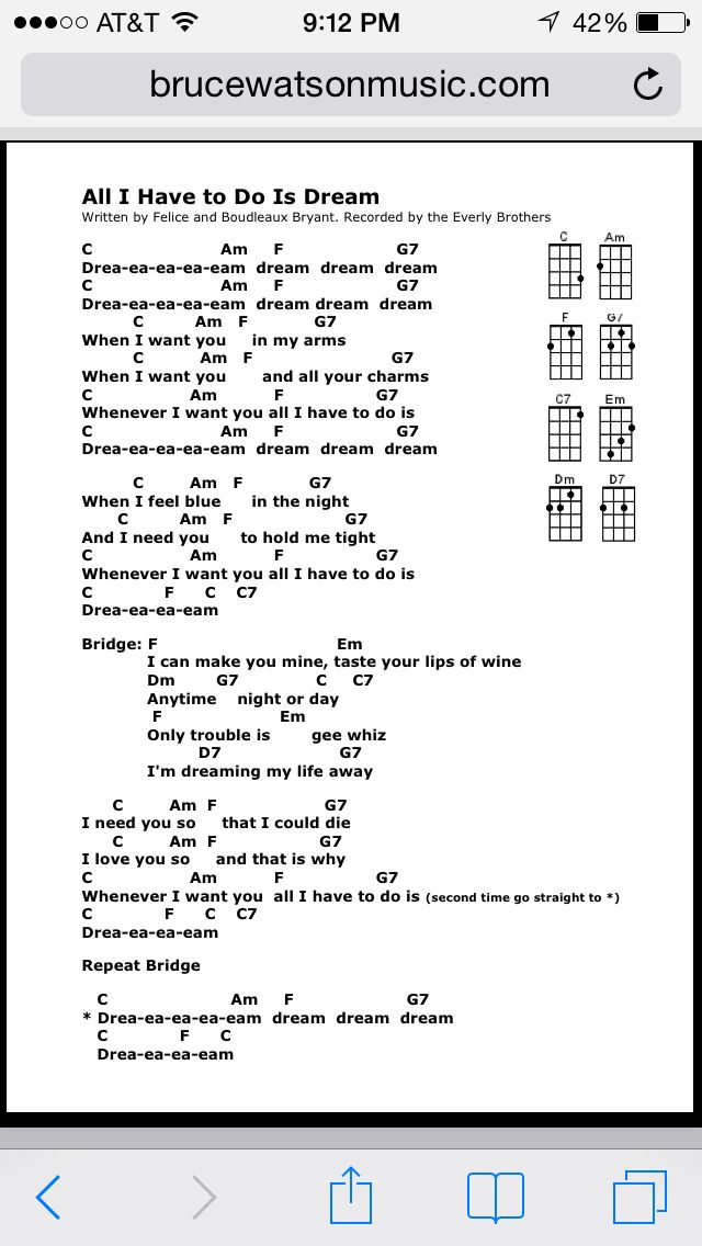 All I have to do is dream uke chords | Uke songs | Pinterest ...
