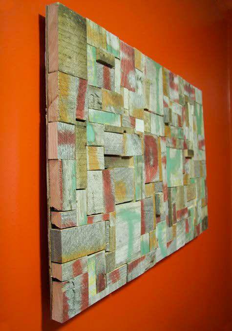 Con recortes de maderas cuadro de palets things for my - Cuadros con palets ...