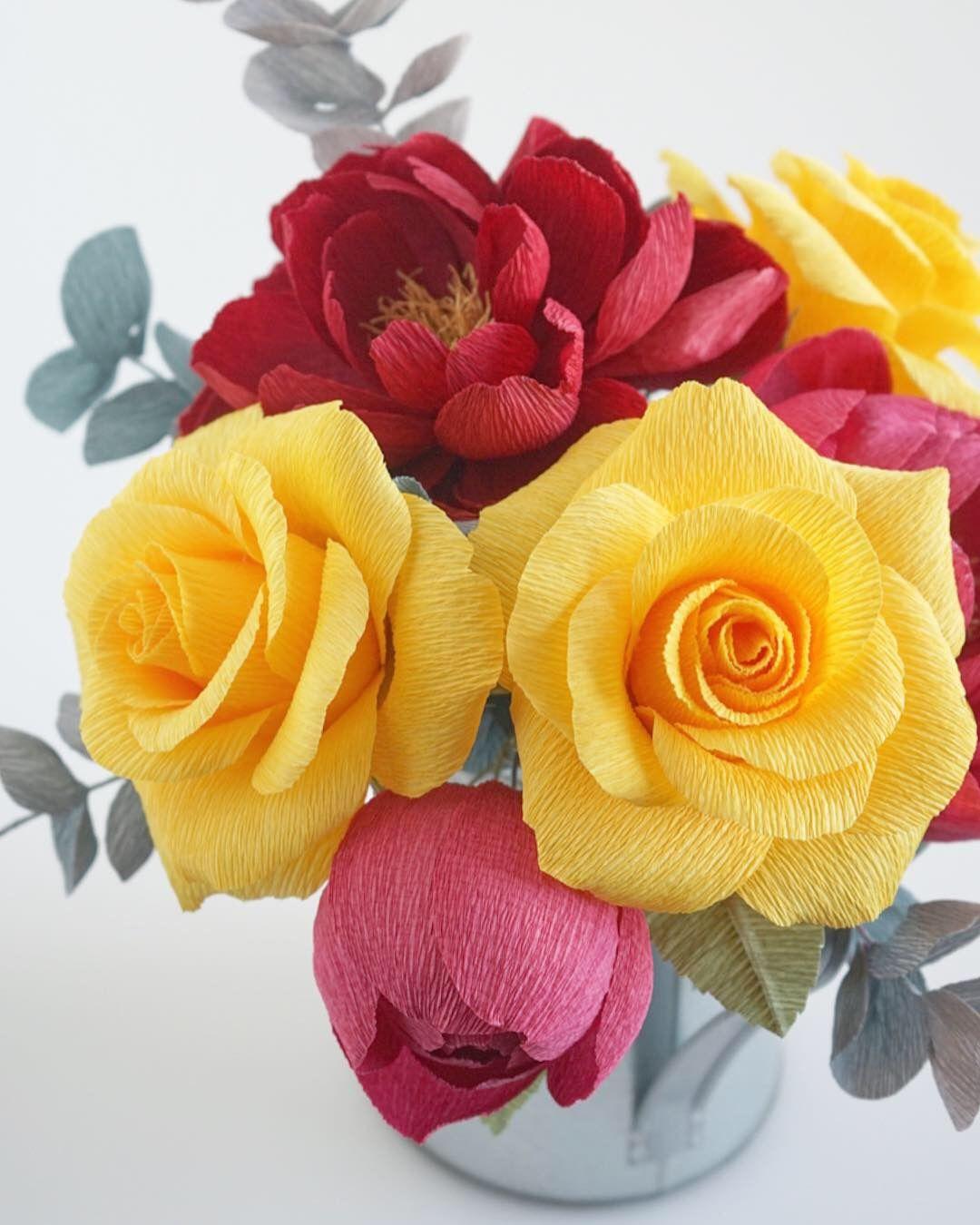 Crepe Paper Roses Paper Bouquet Paper Florist Paper Craft
