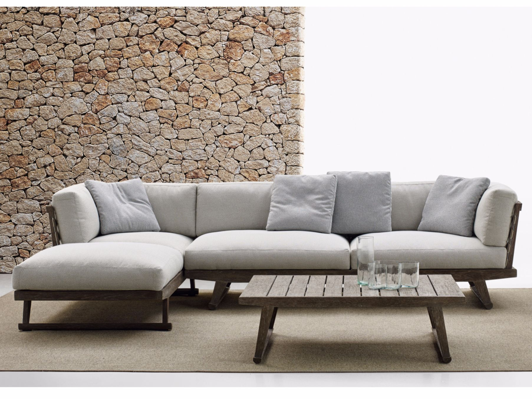 Garden Sofa With Chaise Longue Gio - Sofa With Chaise