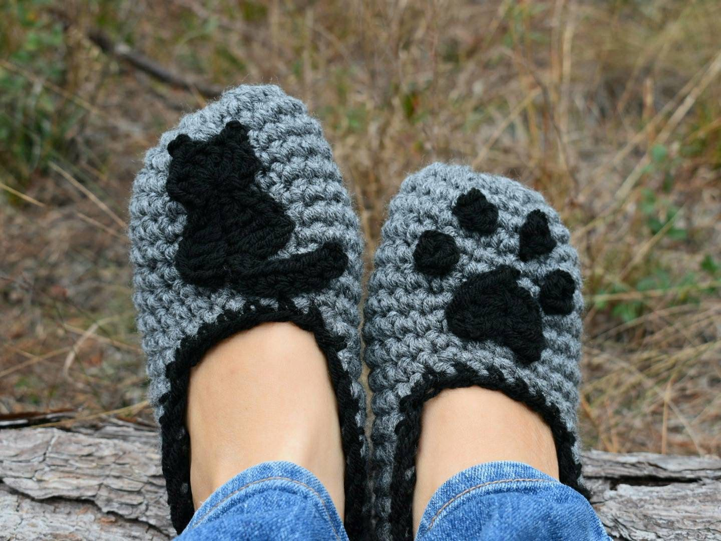 Easy Crochet Pattern, Cat Lady Slippers instant download