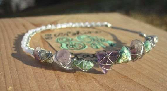 Handmade Jewelry Amethyst and Aventurine Wire Wrapped Silver by SunshineGardens