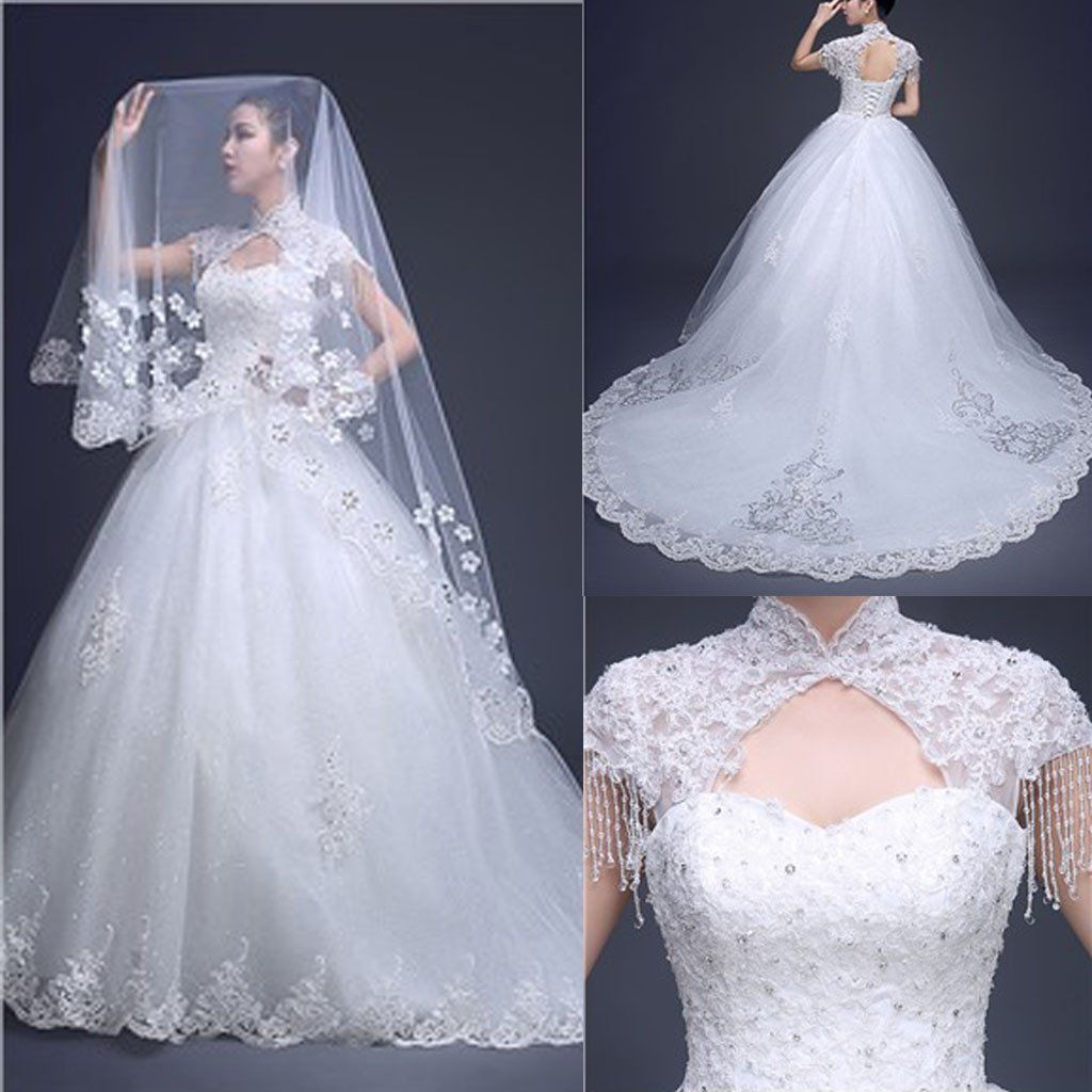 Charming high neck cap sleeve long aline open back lace tulle