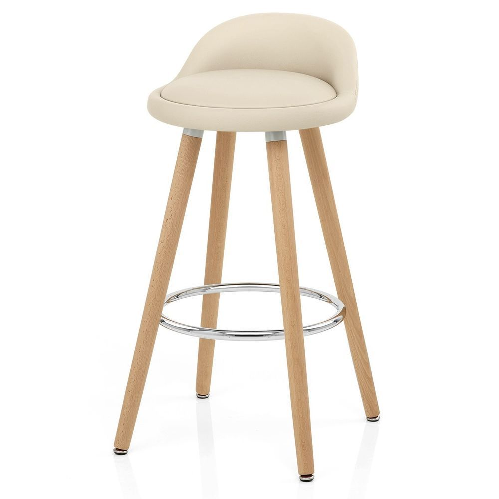 Backless Kitchen Bar Stool Cream Faux Leather Wooden Round Modern